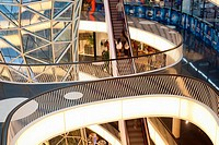 Interior and escalator of MyZeil shopping mall by Massimiliano Fuksas in Frankfurt am Main, Germany, Europe