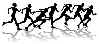 Silhouette of a group of runners racing with reflections