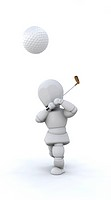 3D Render of a man playing golf