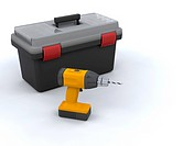 3D render of a power drill and a tool box