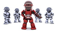 3D render of a red robot leading a team