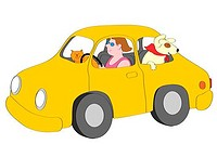 Smiling woman driving yellow car with cat and dog, illustration