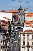 Rua de 13 Janiero in Porto, Portugal looking towards Junta de Freguesia de Santo Ildefonso on the skyline