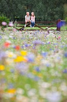 Boy and girl sitting on fence in wildflower field