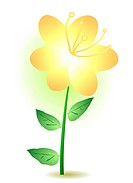 Vector illustration of a yellow lily