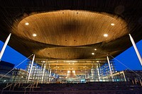 The Welsh Assembly debating chamber, or Senedd, Cardiff  Night with lights