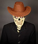 Man _ skeleton in leather cowboy hat