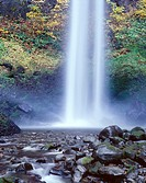 Base of Lower Elowah Falls and early autumn colors, Columbia River Gorge National Scenic Area, northern Oregon, USA