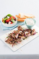 Lamb and red onion kebabs Lebanon