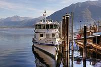 Line ship at the port of Locarno, Ticino, Switzerland