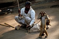 A man squats with a tiny drum and his dancing monkey in a Bombay street.