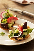 Panzanella bread salad, Italy on crostini