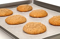 Banana Whoopie Pie Shells on Baking Sheet