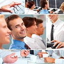 Collage of teamwork, technology and businesspeople concepts