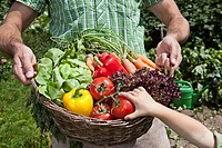 Germany, Bavaria, Altenthann, Father and daughter holding basket full of vegetables