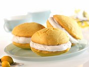Lemon Whoopie Pies with Cream Filling on a Plate