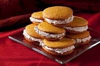 Pumpkin whoopie pies with a cinnamon cream filling