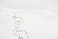 Austria, Zurs, Lech, View of ski tracks in snow