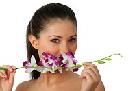 Spa girl with orchid portrait