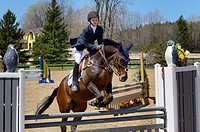 Teenage girl taking off on her horse over a jump at an outdoor equestrian show competition