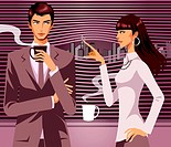 Businessman looking at woman with a cup of Coffee in his hand (thumbnail)