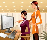 Two businesswomen working at the computer