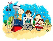 Happy family travelling in Train