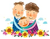 Portrait of happy family with one boy child (thumbnail)