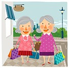 Two elderly woman arriving home from shopping