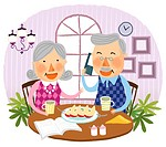 Elderly couple drinking together cup of tea (thumbnail)