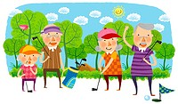 Elderly people playing golf