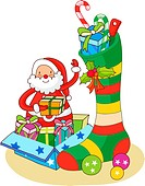 Santa Claus putting Christmas presents in a Christmas stocking (thumbnail)