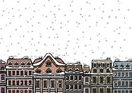 Snowfall over a city