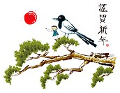 Drawing of boy and bird on tree