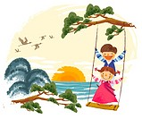 Children on swing (thumbnail)