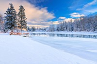 Scenic view of the Kenai River and Jim's Landing during winter, Southcentral Alaska, HDR