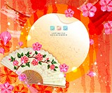 Chinese New Year Greeting Card with fan and flora Design
