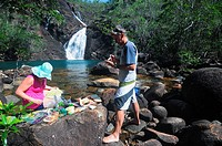 Picnic at Zoe Falls, Hinchinbrook Island National Park, Queensland, Australia  No MR