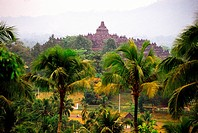An overview of the ancient ruins of Borobudur.