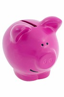 A pink piggy bank on white background, cut out