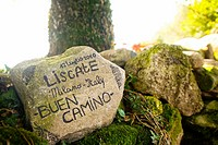 Advertisement at the Camino de Santiago along the province of Lugo Galicia, Spain