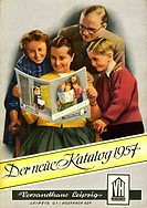 DIG GDR, 1957, Versandhauskatalag, distributing house Leipzig, frontispiece, family is pleased over offers, commodity orders, order, mail_order operat...