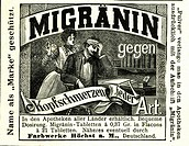DIG Germany, 1898, headache tablets Migraenin, manufacturer of inking attachments Hoechst, newspaper advertisement, Mrs., wife recommends the tablets ...