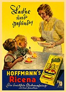DIG Germany, around 1930, children, eat, mother, give them Hoffmann s Ricena, child food, on rice basis, dessert, Dessert, lecker, healthy, tastily, e...