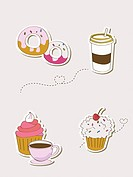 Various types of icons for cafe and desserts