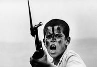 Geo. hist., Lebanon, humans, militias, child soldier with rifle with bayonet, 1970, military, child, camouflage, Middle East conflict, 20. Century,