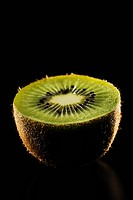Kiwi cut is illuminated black background