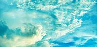 Panoramic photo of beautiful cloudy sky