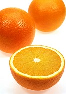 Orange, citrus sinensis, Fruits against White Background