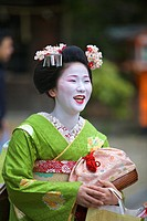 A Geisha taking part in the Setsubun Rituals at Yasaka Shine